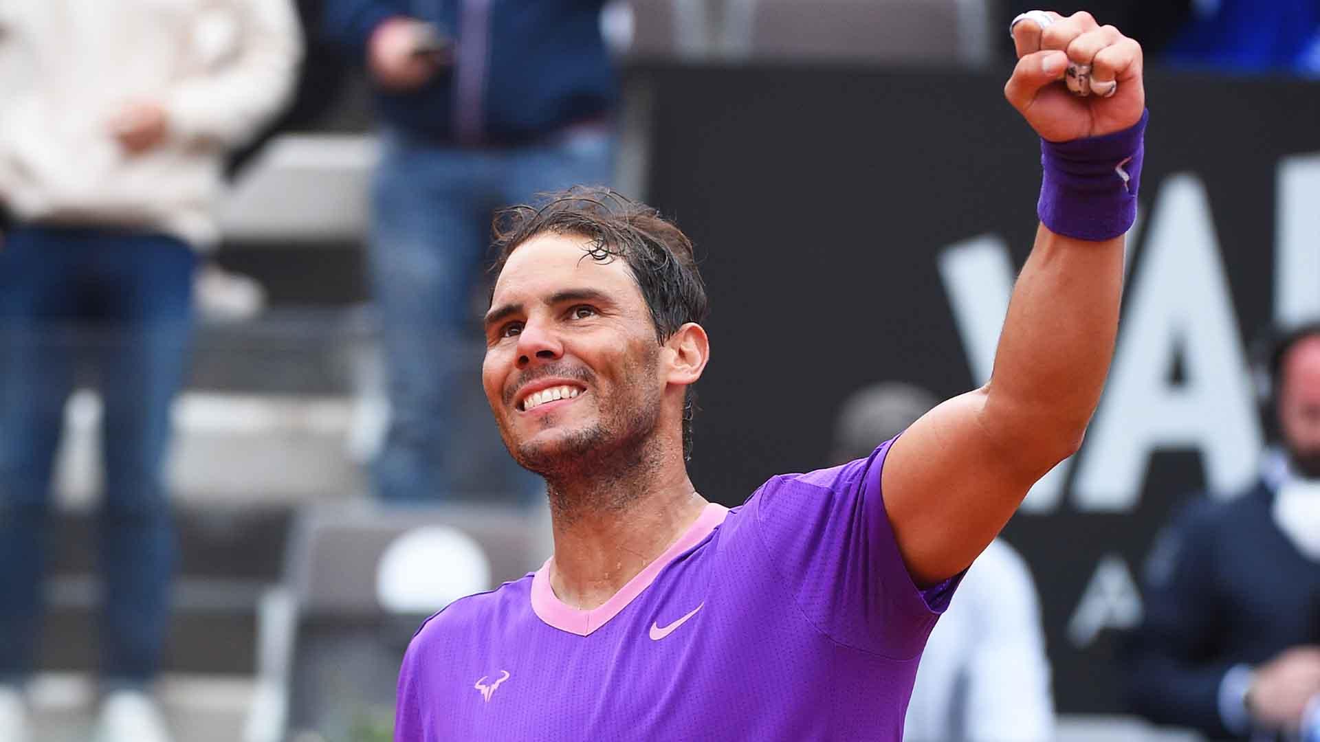 nadal rome 2021 friday celebration - ATP Rim: Nadal slavil v vrhunskem finalu; Španec v Pariz odhaja kot glavni favorit!