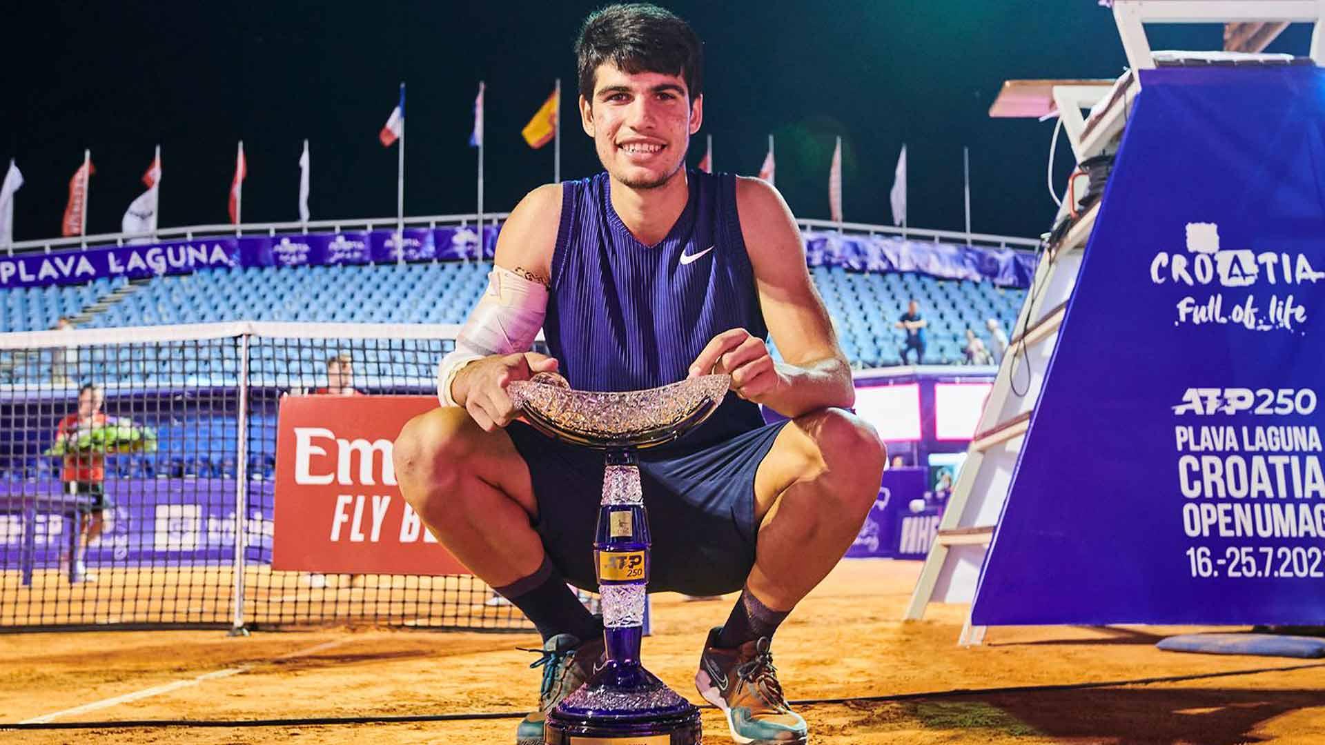 alcaraz umag 2021 trophy - 18-letni Alcaraz v Umagu do prvega naslova ATP