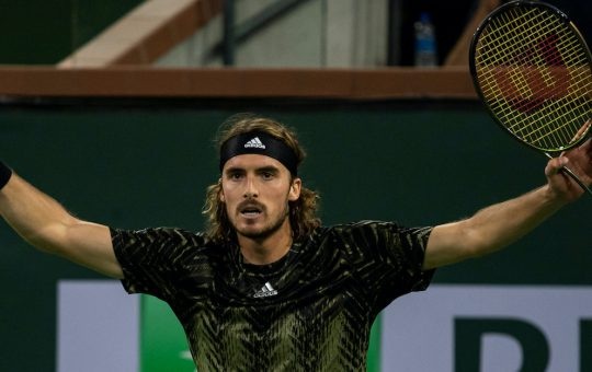 Stefanos Tsitsipas Indian Wells 2021 540x340 - ATP Indian Wells: Tsitsipas nadoknadil niz zaostanka in premagal srboritega Italijana
